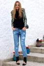 Light-blue-boyfriend-jeans-stradivarius-jeans-olive-green-sequin-mango-blazer