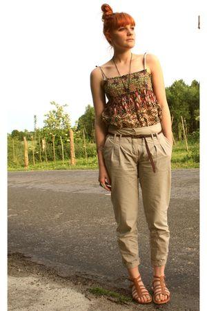 Zara shirt - brown Gladiator shoes