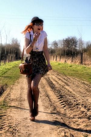 vintage hat - H&amp;M shirt - H&amp;M skirt - Pimkie clogs