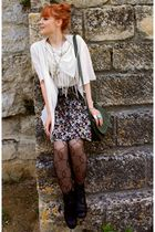 beige Fringe t-shirt - H&M skirt - H&M purse