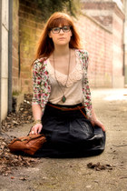 vintage cardigan - new look boots - Pimkie bag - vintage skirt - Cache Cache top