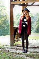 floral print choiescom sweater - cut out choiescom boots - black choiescom hat