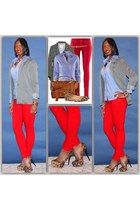 red pants - grey blazer - leopard heels
