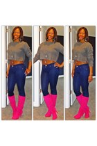crop sweater - hot pink boots - dark denim jeans