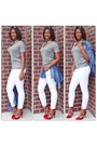 White-jeans-grey-tee-t-shirt-denim-blouse-plaid-pumps