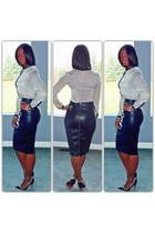 leather skirt - cream and black blouse - black pumps