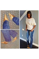 cable knit sweater - tan boots - denim jeans