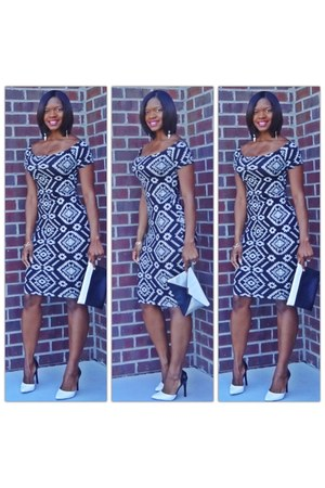 tribal print f21 dress - black and white Express bag - black and white DSW pumps