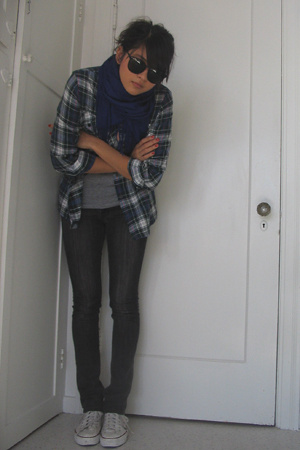 green plaid thrifted shirt - black skinny Lux jeans - blue Target scarf