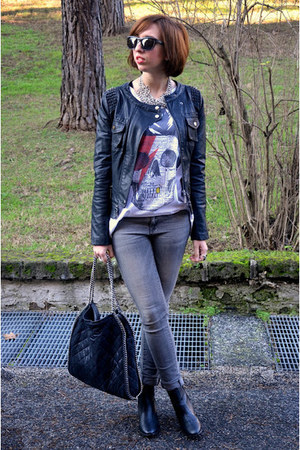 TANGRAM jacket - H&amp;M boots - Mango jeans - Stella McCartney bag