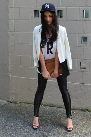 tawny Zara bag - black faux leather Wilfred Free leggings - white H&M blazer