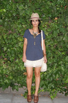 blue Zara top - beige Topshop skirt - brown Zara shoes - beige H&M accessories -
