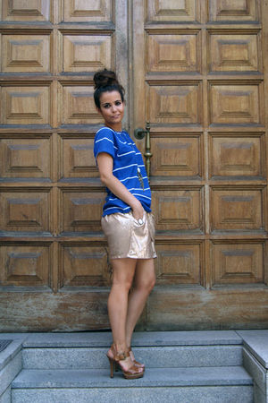 gold Zara skirt - blue pull&amp;bear top - brown Zara shoes - brown asos accessories