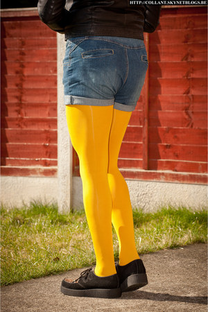 yellow opaque tights
