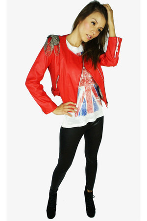 red vegan leather Colors of Aurora jacket