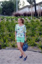 Bimba & Lola bag - Zara shorts - Diktons blouse - Zara heels