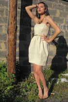cream & Gold dress - H&M accessories - cynthia rowley - shoes