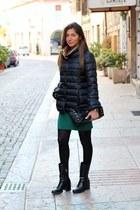 black Bills coat - black Zara boots - green Northland dress