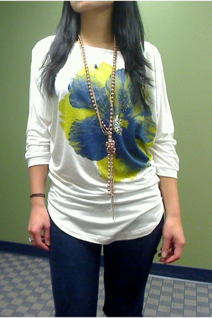 Forever 21 top - abercrombie & fitch jeans - Bakers shoes - Forever 21 necklace