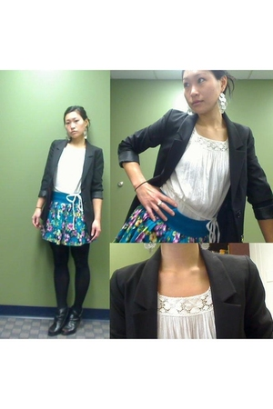 white H&M top - H&M skirt - black H&M blazer - black Betsey Johnson tights - bla