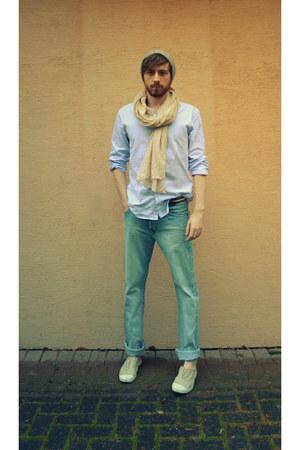camel Bensimon shoes - sky blue jeans - heather gray beanie H&M hat