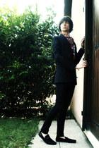 black skinny jeans pull&bear jeans - black blazer - brick red scarf