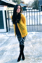 yellow Rodarte for Target cardigan - gray Diane Von Furstenberg leggings - black
