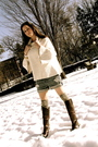 White-jcrew-blouse-blue-currentelliott-shorts-brown-golden-goose-boots-gra