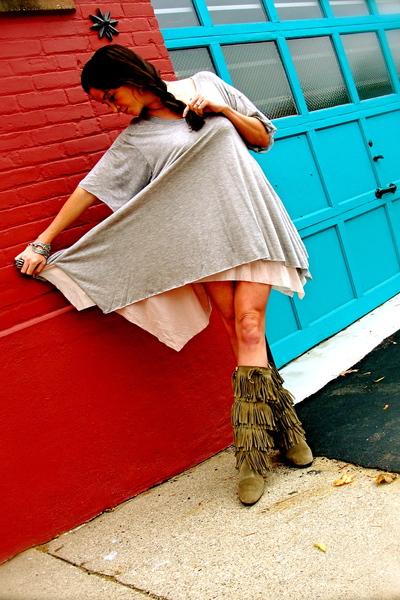 green Kors by Michael Kors boots - silver LaRok dress - silver Forever 21 bracel