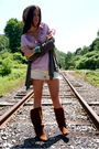 Purple-jcrew-blouse-green-splendid-cardigan-white-true-religion-shorts-bro