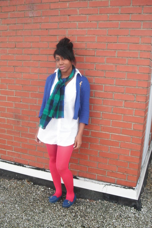 blue cardigan - blue scarf - white blouse - pink stockings - blue shoes - blue