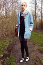 White-black-and-white-thrifted-shoes-sky-blue-thrifted-coat