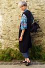 Charcoal-gray-maxi-dress-asos-dress-black-long-vest-front-row-shop-coat