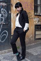 black H&M blazer - aquamarine sparkle American Apparel socks - black H&M pants