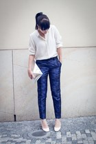blue brocade H&M pants