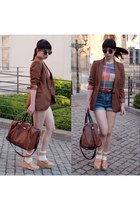brown Zara blazer - dark brown hm bag - nude Hasbeens for HM sandals - American