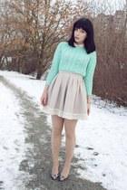 beige H&M skirt - aquamarine cable knit asos sweater