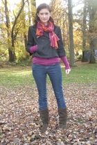 H&M scarf - Mossimo for Target shirt - Forever21 jeans - Ann Taylor Loft jacket