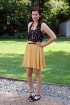 yellow Forever 21 skirt - dark brown beaded necklace - black feather print top