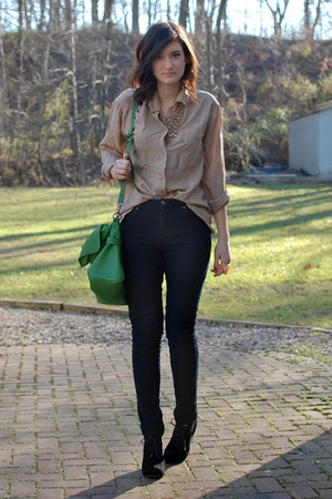 tan thrifted silk blouse - navy high rise Forever 21 jeans