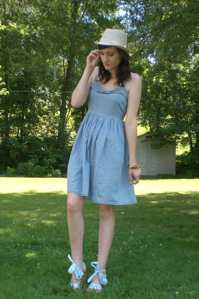 blue dress - blue shoes - beige hat - brown bracelet