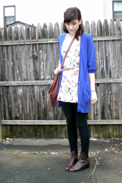 blue American Eagle cardigan - black H&M leggings - white H&M top - brown boots