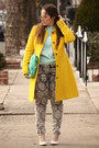 Yellow-wool-jcrew-coat-charcoal-gray-printed-zara-jeans