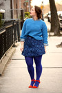 Blue-hue-tights-periwinkle-denim-zara-shirt-navy-jacquard-zara-skirt