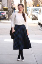 navy geometric asos skirt - black HUE tights - black Zara bag