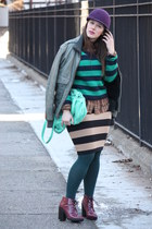 green striped Forever 21 jumper - magenta lace-up Topshop boots