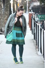 Teal-pleated-joe-fresh-skirt-forest-green-jacket-dark-green-husbands-sweater
