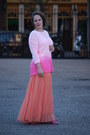 Hot-pink-white-topshop-sweater-hot-pink-glitter-heels-salmon-pleated-skirt