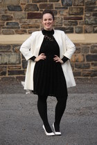 white Zara jacket - black lace Zara dress - white patent leather heels