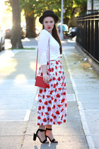 red poppie print skirt - black Nordstrom hat - white cotton tee shirt